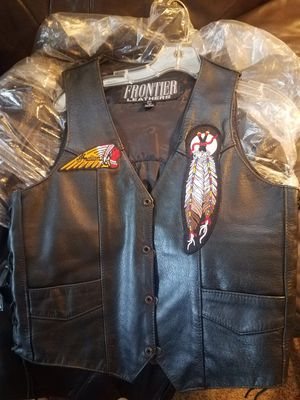 Women's leather Motorcycle vest with INDIAN patches for Sale in Riverside, CA
