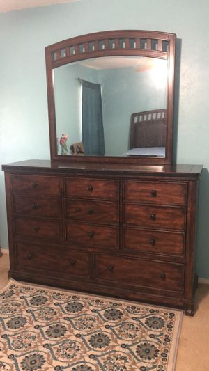 Wooden Bed Frame and Dresser for Sale in Richardson, TX