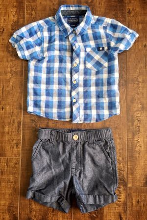 LUCKY BRAND baby plaid SHIRT & SHORTS • toddler 12M outfit for Sale in Buena Park, CA