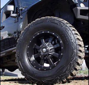 "17"" WHEELS & TIRES PACKAGE ✅17x9 Trail Master TM220 Rims 6x139 or 6x135 Satin Black Offset -6. ✅ 17"" Americus M/T Mud Terrai for Sale in La Habra, CA"
