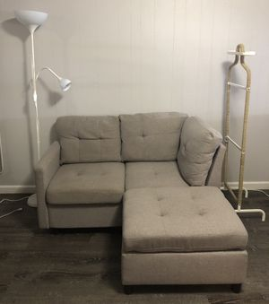 Modular Sectional Corner Sofa Linen Fabric Interlocking BONUS: a floor lamp and a clothing rack (the decorative rope can be easily removed) for Sale in Brooklyn, NY