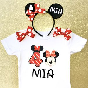 Personalized Red Polkadot Minnie Mouse Fourth (4th) Birthday Shirt & Headband Ears for Sale in Long Beach, CA