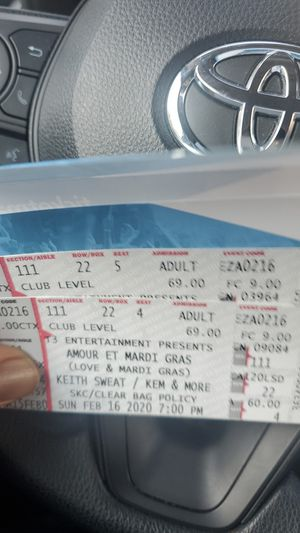 Keith Sweat Club seats for Sale in New Orleans, LA