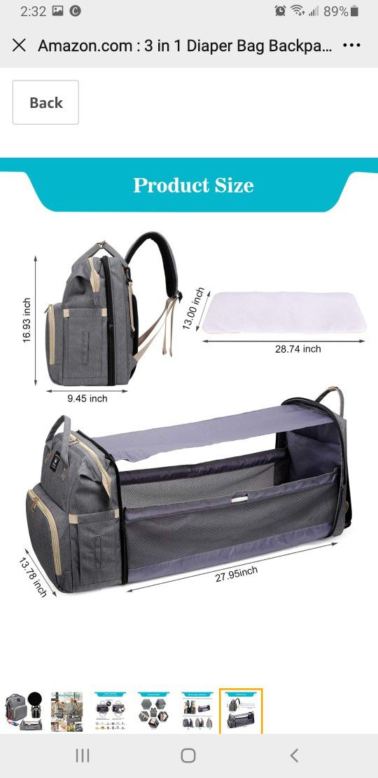3 in 1 Diaper Bag Backpack with Folding Crib,Portable Sleeping Mommy Bag Include Insulated Pocket, Diaper Bag Backpack Changing Station