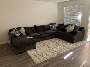 14' Sofa with Chaise + Pillowset (Charcoal) for Sale in Alta Loma, CA