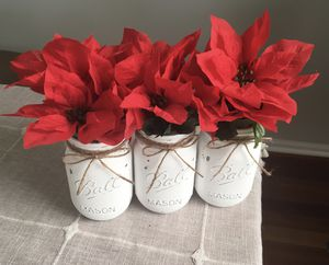 Distressed mason jar vases with flowers included!! Jar/flower choices shown in photos for Sale in Plainfield, IL