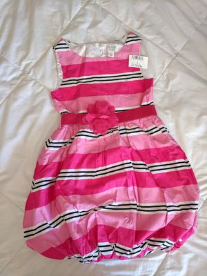 BRAND NEW Beautiful Girls summer dress occasion party The Children's place elastic removable flower Belt pink striped dress Size 5 for Sale in Cherry Hill, NJ