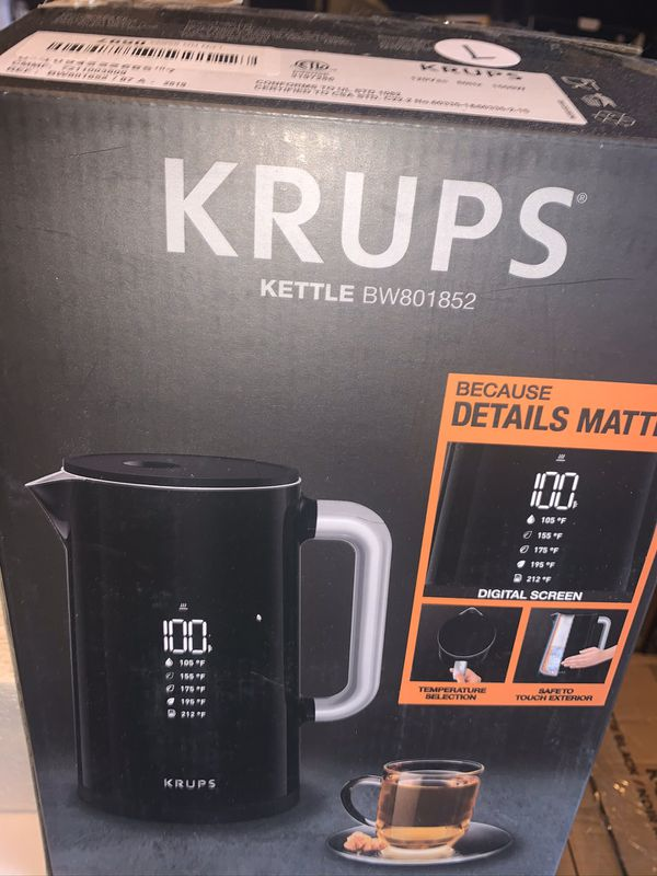 Krups smart temp digital cool touch kettle full stainless steel interior 1.7 liter new excellent condition open box Never used