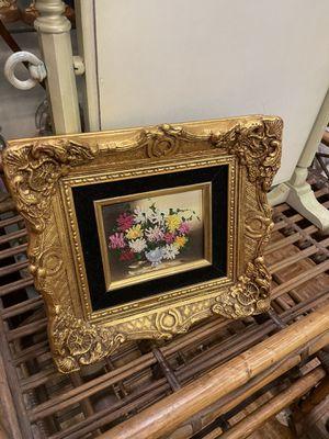 """Vintage antique floral flower gold gilt frame oil painting 12"""" pick up la Mesa for Sale in San Diego, CA"""