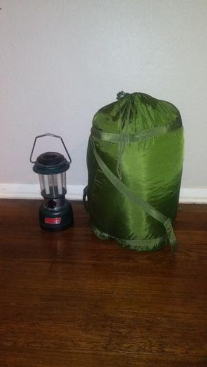 Coleman battery power lantern / sleeping bag for Sale in San Antonio, TX