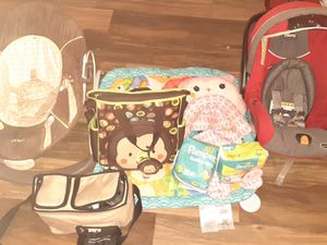 Size1 diapers $5 Nb diapers $3 Breast Pump $25Car Seat $20 B Baby Chair $15 Diaper Bag $10 R Baby Chair $15 Play Mat $8 Car Seat Comforter $5 for Sale in Lubbock, TX
