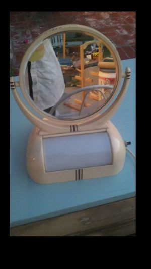 Vintage Lighted Makeup Mirror All Metal with Storage Compartment with metal Lid Art Decoor Circa 1940's for Sale in Whittier, CA