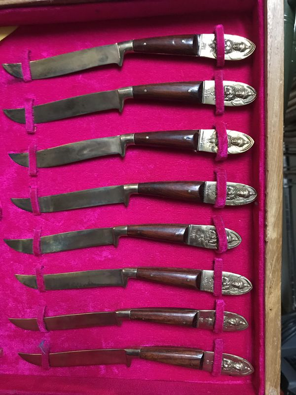 Vintage brass and rosewood flatware