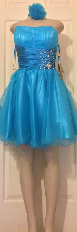 *NEW Blue Strapless Princess Dress+Scarf •Also In fuchsia for Sale in Houston, TX