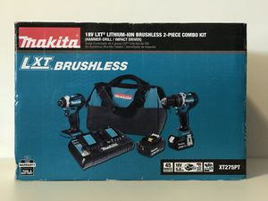 MAKITA 18v BRUSHLESS COMBO KIT HAMMER DRILL,IMPACT DRIVE 2-5.0AH BATTERIES AND CHARGER for Sale in Colton, CA