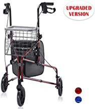 Upgraded Version ! Health Line Lite Folding 3 Wheel Aluminum Rollator Walker Lightweight with Bag and Basket, Flame Red for Sale in Ontario, CA