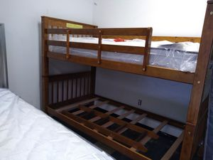 Twin/Twin wood bunk bed 40 down same day delivery for Sale in Columbus, OH