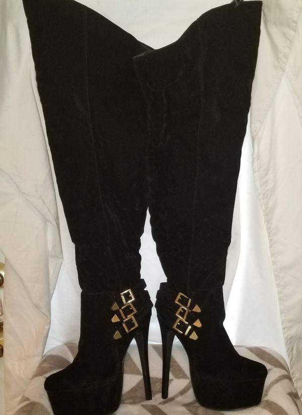 Black Thigh High Stiletto Boots
