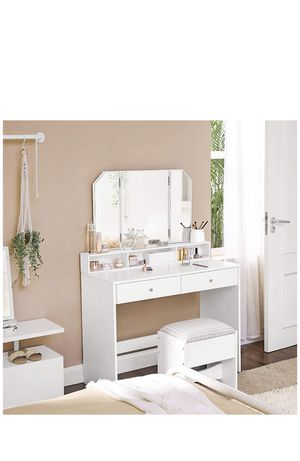 Vanity Set, Dressing Table Set with Tri-Fold Mirror, Large Table Top, 2 Drawers, 3 Open Compartments, Cushioned Stool, Gift Idea, White for Sale in Chino, CA