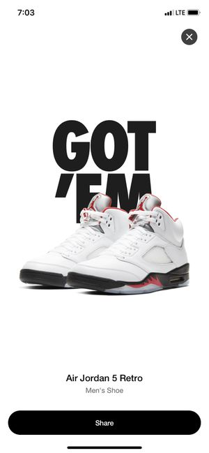 Jordan Fire Red retro 5 size 12 for Sale in Federal Way, WA