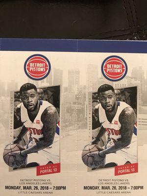 Detroit Pistons vs Los Angeles Lakers Monday March 26th for Sale in Detroit, MI