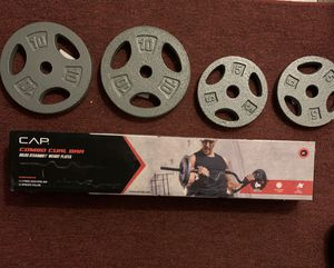CAP Combo Curl Bar Set W/ Lock Collars and 30 lbs Standard Weight Plates. for Sale in Gurnee, IL