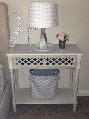 Mirror/lattice Large night stand, lamp, and basket for Sale in Alpharetta, GA