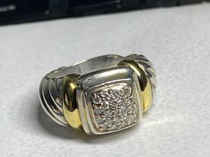 Authentic David Yurman Diamond Gold Silver Ring Size 6.5 sizeable orig $1500 for Sale in Miami, FL