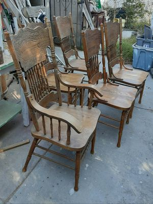 Five Oak Dining Chairs for Sale in San Bernardino, CA