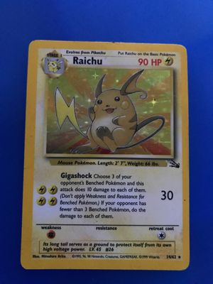 1999 Pokémon rare English, First Edition ,Holographic Raichu Card for Sale in North Potomac, MD