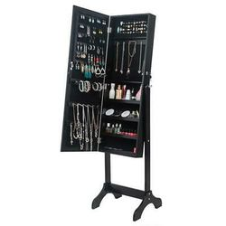 Full Length Mirror Jewelry Cabinet Free Standing Armoire Storage Organizer Black for Sale in Los Angeles,  CA