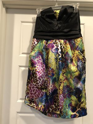 Bright colorful funky strapless short dress with pockets size medium/large for Sale in Tempe, AZ
