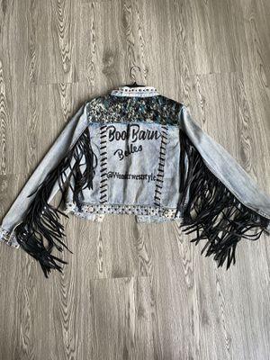 Western Cowboy Denim Jacket Leather Fringe for Sale in Placentia, CA