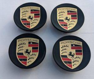 Black Porsche caps wheel rim center Cap 76mm 3 inch diameter BRAND NEW SET OF 4 CAYENNE CAYMAN PANAMERA BOXSTER 911 718 917 993 964 996 997 987 986 for Sale in HUNTINGTN BCH, CA