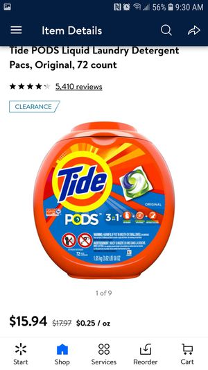 Tide pods 72 count $9.00 each for Sale in Riverside, CA