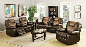 3-PC Two Tone Brown Leather Living Room Recliner Set for Sale in West Palm Beach, FL