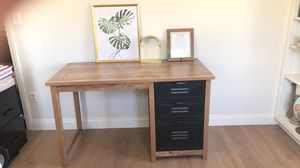Desk with filing cabinet, wooden frame and gold done shelf for Sale in Apple Valley, CA