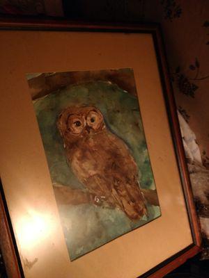 Vintage owl watercolor for Sale in Keokuk, IA