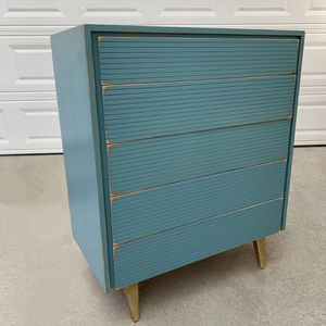 Awesome blue and gold shabby distressed solid wood mid century style dresser for Sale in San Diego, CA