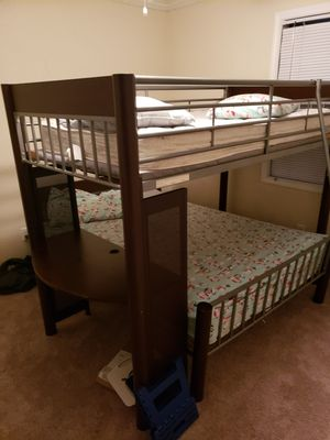 Twin over full wood bunk bed w/ desk for Sale in Greer, SC
