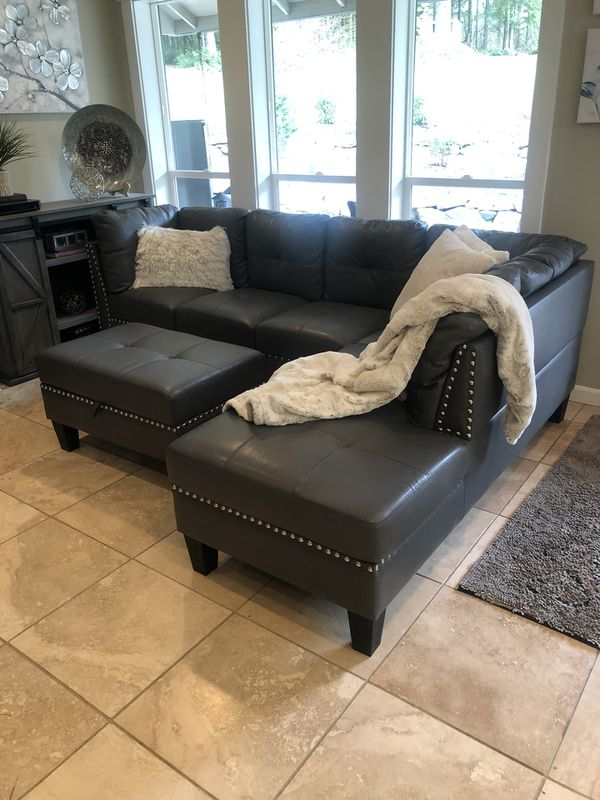 Sofa Sectional & Ottoman, Grey Faux Leather