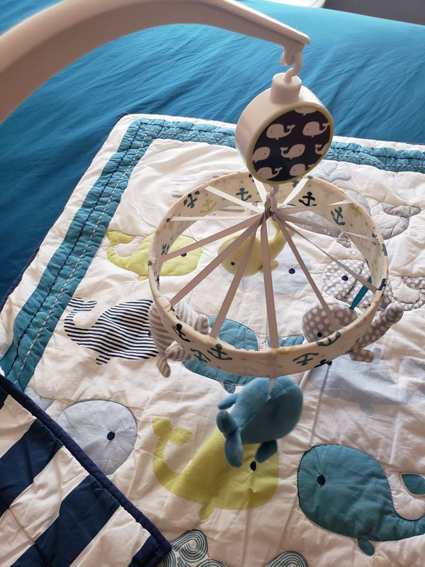 Whale baby crib bedding