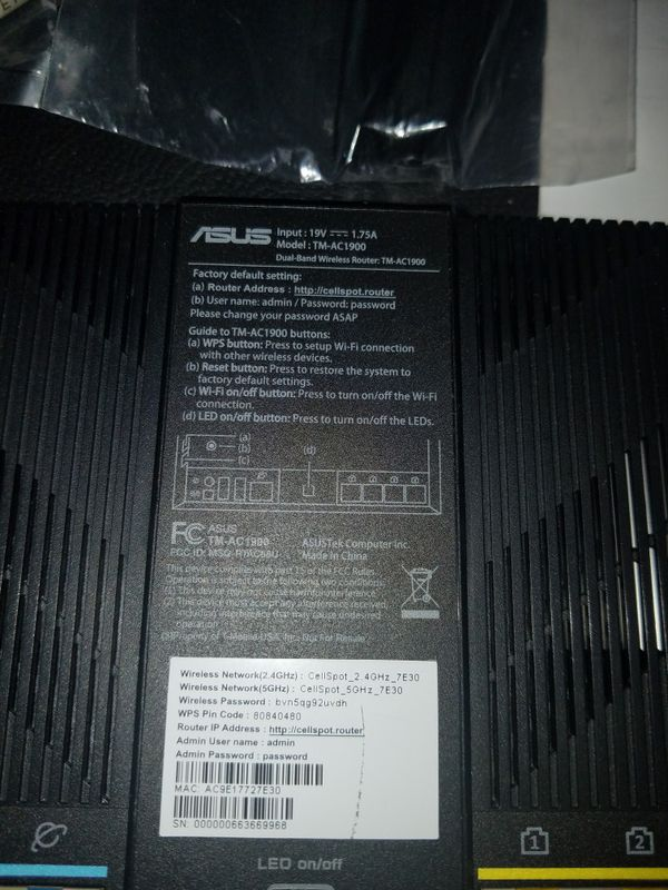 Opem Box T-Mobile Asus TM-AC1900 Dual Band Wireless Router Personal Cellspot. Tested and eorks fine. (DOES NOT COME WITH POWER ADAPTER!)