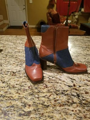 Brown Leather and Denim Women's Boots, Size 8 for Sale in Atlanta, GA