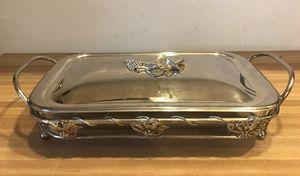 Grape leaf motive silver and Pyrex glass bakeware presentation platter for Sale in Tempe, AZ
