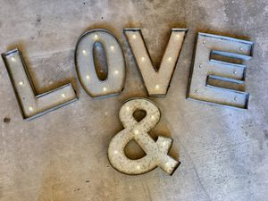 "15"" Metal ""LOVE"" ""&"" Lighted Letters for Sale in Trabuco Canyon, CA"