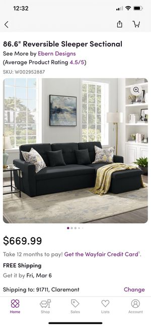 """3-Seater Sofa-Bed with Storage, Tribesigns 86.6"""" Convertible Sectional Sofa Couch Modern Linen Fabric L-Shape Couch for Small Space color brown and for Sale in Ontario, CA"""