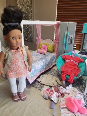 """18""""doll, bed, chair and clothing to play for Sale in Albuquerque, NM"""