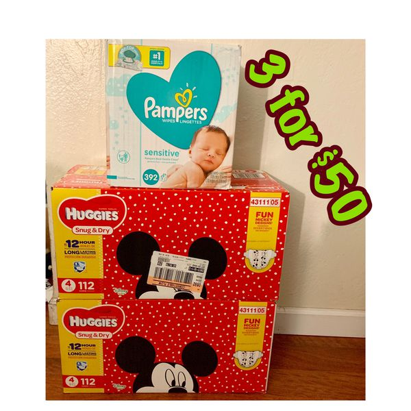 Huggies Size 4 diapers with wipes bundle