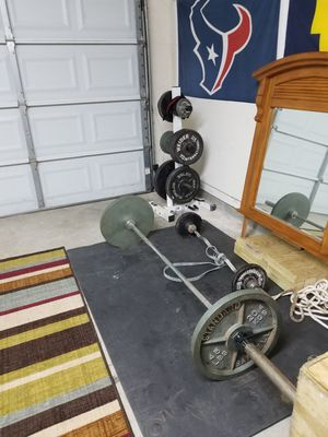 Barbell with weights for Sale in Texas City, TX